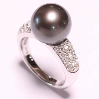 タサキ(TASAKI)の☆田崎真珠☆TASAKI☆タサキ☆Pt900☆黒蝶真珠☆ダイヤモンド リング ☆(リング(指輪))