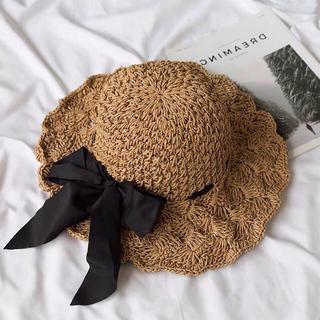 フラワー(flower)のリボン編み上げ帽子(麦わら帽子/ストローハット)