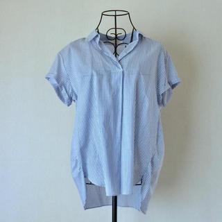 エニィスィス(anySiS)のエニィスィス  ライトブルー×ホワイトストライプ  ゆったり半袖ブラウス(シャツ/ブラウス(半袖/袖なし))