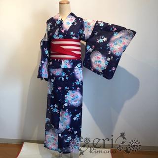 【浴衣セール】¥6980→¥3980 紺色にお花 ラメ(浴衣)