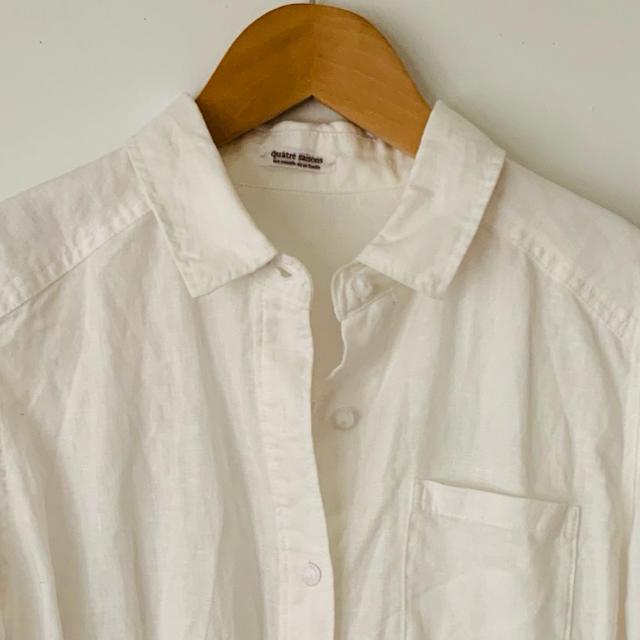 quatre saisons(キャトルセゾン)のキャトルセゾン リネンシャツ ホワイト レディースのトップス(シャツ/ブラウス(長袖/七分))の商品写真