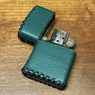 ジッポー(ZIPPO)の[本革] zippo用 レザーケース 革ケース 革巻き ダークグリーン(タバコグッズ)