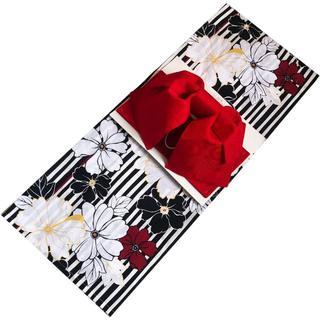 セパレート浴衣(二部式浴衣)肌に優しい素材 日本製作り帯セット 華ストライプ(浴衣)