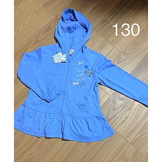motherways - マザウェイズ ペプラム パーカー 130 リボン ハート ブルー 青 水色
