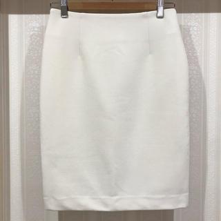 ガリャルダガランテ(GALLARDA GALANTE)の白のシンプルな膝丈スカートナロースカート タイトスカート アイボリー(ひざ丈スカート)