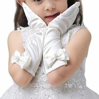 女の子子供用サテンロンググローブ手袋白ホワイト結婚式発表会姫コスプレ(手袋)