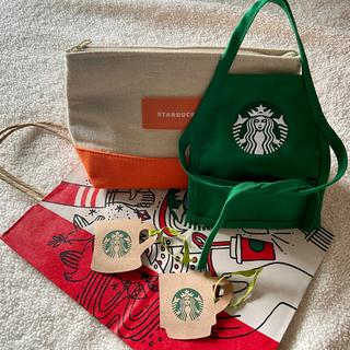 スターバックスコーヒー(Starbucks Coffee)の【入手困難】スターバックス シアトル1号店本社限定 ミニエプロンとポーチおまけ付(その他)