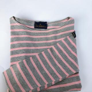 ルミノア(Le Minor)のフランス製!!ルミノア Le minor*ボーダー柄バスクシャツ グレー×ピンク(カットソー(長袖/七分))