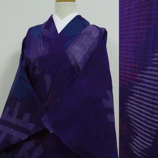 夏着物 青紫に大輪の花 アンティーク(着物)
