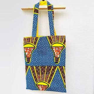 ブルー アフリカ布でつくったサブバッグ バオバブ神戸 エコバッグ(バッグ)