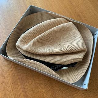ネストローブ(nest Robe)の本日限定値引き 新品タグ付き mature.ha BOXED HAT(麦わら帽子/ストローハット)