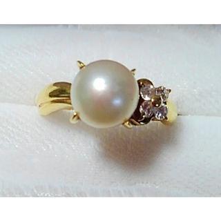 タサキ(TASAKI)の7月11日まで値下げ 田崎真珠  K18 パールとダイヤの指輪(リング(指輪))