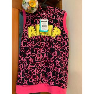 アナップキッズ(ANAP Kids)の新品タグ付◯アナップガール◯鮮やかなパーカーベスト◯S黒 140-150(Tシャツ/カットソー)