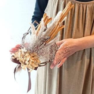 RORO様専用ページ♪天然木の紫陽花とユリ殻の スワッグ   リース(ドライフラワー)
