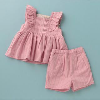 プティマイン(petit main)のプティマイン 110 肩フリルタックチュニック×パンツセット(Tシャツ/カットソー)