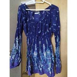 ザラ(ZARA)の紫色 ブラウス チュニック 白 ブルー 青(チュニック)