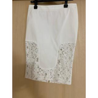 ヌメロヴェントゥーノ(N°21)の値下げ ヌメロ レースタイトスカート ホワイト(ひざ丈スカート)