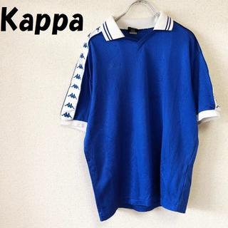 カッパ(Kappa)の【人気】kappa アームロゴ入りスポーツシャツ サッカー ブルーxホワイト(ウェア)