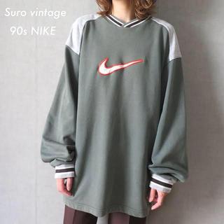 NIKE - 90s ナイキ NIKE 刺繍ロゴ スウェット トレーナー 古着女子