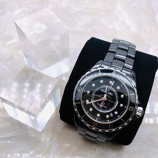 シャネル(CHANEL)の★CAHENL★シャネル J12 黒セラ 12P ダイヤ メンズ(腕時計(アナログ))