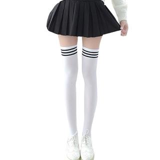 コスプレにかわいい靴下♡ ニーハイ ソックス ホワイト 3本ライン(ソックス)