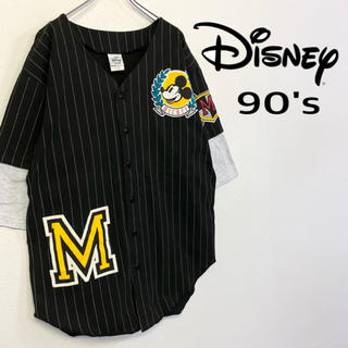 Disney - 美品 US製 90's Disney ベースボールシャツ 重ね着風デザイン