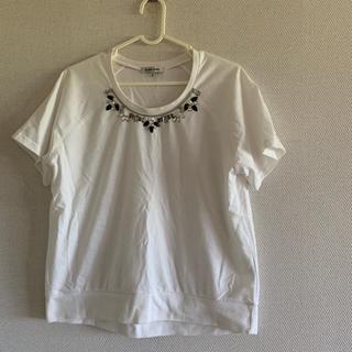 ナチュラルビューティーベーシック(NATURAL BEAUTY BASIC)のカットソー ビジュー付きTシャツ ナチュラルビューティーベーシック(Tシャツ(半袖/袖なし))