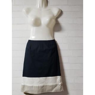 クードシャンス(COUP DE CHANCE)の【クードシャンス】ネイビー配色ひざ丈台形スカート 全国送料無料(ひざ丈スカート)