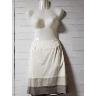 クードシャンス(COUP DE CHANCE)の【クードシャンス】ホワイト配色ひざ丈台形スカート 全国送料無料(ひざ丈ワンピース)