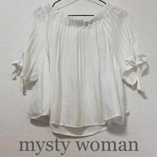 ミスティウーマン(mysty woman)のmysty woman[ミスティウーマン]オフショル プリーツ リボン ブラウス(シャツ/ブラウス(半袖/袖なし))