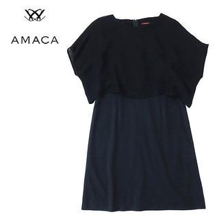 アマカ(AMACA)のAMACA アマカ 重ね着ニット風ドッキングワンピース ネイビー(ひざ丈ワンピース)