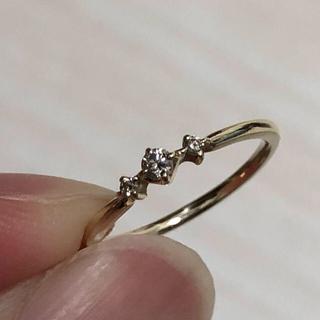 ❗️最終値下げ❗️K10YG ダイヤ3石リング (リング(指輪))
