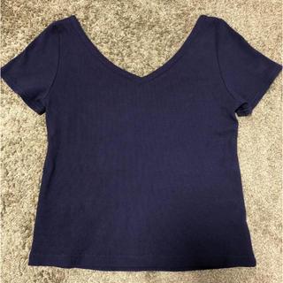 ココディール(COCO DEAL)のテレコVネックトップス Tシャツ カットソー COCODEAL ネイビー(Tシャツ(半袖/袖なし))