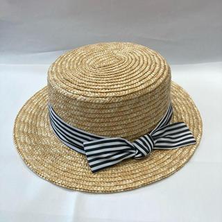 エニィファム(anyFAM)のボーダーリボンカンカン帽 52(帽子)