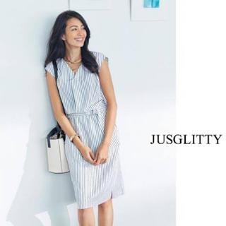 ジャスグリッティー(JUSGLITTY)の美品✨ジャスグリッティー ♡ストライプワンピース(ひざ丈ワンピース)