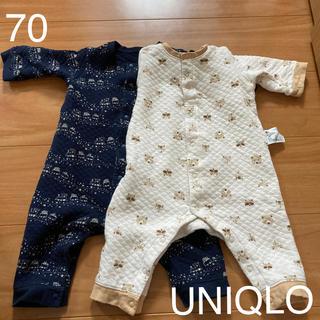 ユニクロ(UNIQLO)のUNIQLOキルトカバーオールset70(カバーオール)