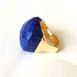 アッシュペーフランス(H.P.FRANCE)の新品 天然石 大粒ラピスラズリ ゴールドリング KBF ヨーガンレール (リング(指輪))