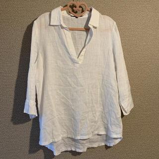 デミルクスビームス(Demi-Luxe BEAMS)のリネン 100%  シャツ ブラウス 白(シャツ/ブラウス(長袖/七分))