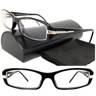 プラダ(PRADA)のプラダ 黒縁 ブラック×シルバー PRADAロゴ メガネ シンプル⭐︎メンズでも(サングラス/メガネ)