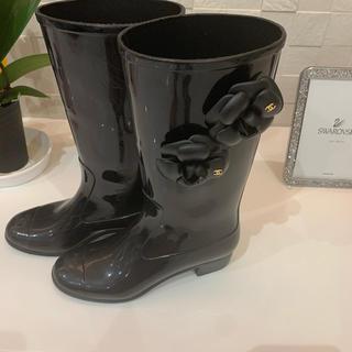 シャネル(CHANEL)の❤️ak様専用❤️CHANELのカメリアレインブーツ❤️(レインブーツ/長靴)