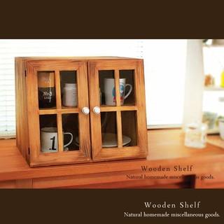 カフェ風♪ アンティーク加工 ショーケース シェルフ 木製 棚 扉付き(家具)