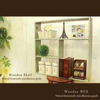 ハンドメイド アンティーク風 シェルフ 木製棚 モスグリーン(家具)
