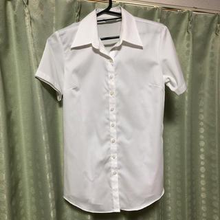 パーソンズ(PERSON'S)の半袖シャツ(白ストライプ)(シャツ/ブラウス(半袖/袖なし))