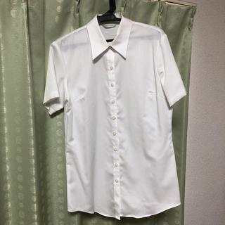 パーソンズ(PERSON'S)の半袖シャツ(白)(シャツ/ブラウス(半袖/袖なし))