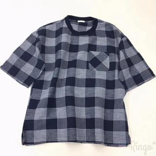 ジーユー(GU)のGU▶︎リネンブレンド ビッグプルオーバーシャツ/Sサイズ/ネイビー(Tシャツ/カットソー(半袖/袖なし))