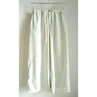 エスティークローゼット(s.t.closet)の(古着)綿100%サマーコーデュロイ裾レース飾り付きワイドパンツ(カジュアルパンツ)