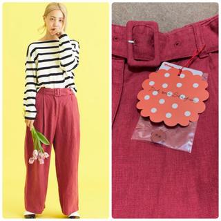 Dot&Stripes CHILDWOMAN - 新品タグ付き Dot&Stripes リネンキャンバス製品染め ベルト付パンツ