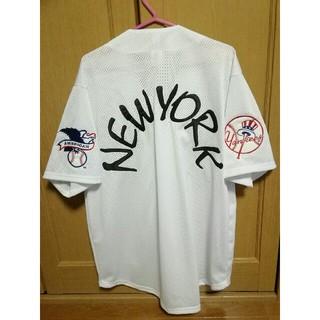 Majestic - MLBニューヨークヤンキース メッシュベースボールシャツ白XL