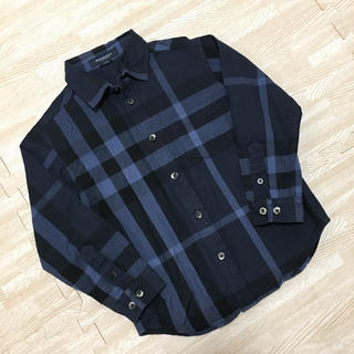 バーバリー(BURBERRY)のバーバリー チェックシャツ ネルシャツ ネイビー ブルー 110(ブラウス)