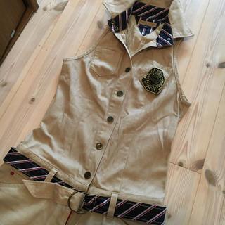 トミーヒルフィガー(TOMMY HILFIGER)のtommy jeans サロペット  ベージュ キャメル 定価25000円くらい(サロペット/オーバーオール)